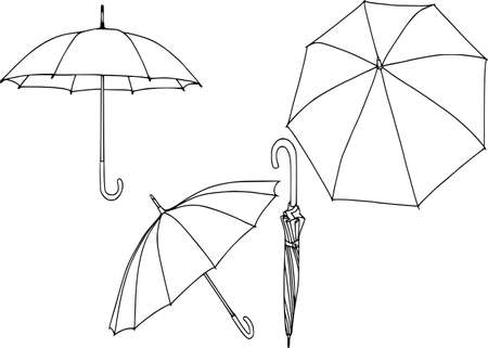 Realistic umbrellas isolated on white background