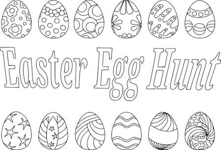 Coloring easter eggs, Vector pattern isolated on white background, contour pattern Illustration