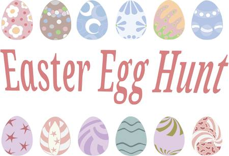 Coloring easter eggs, Vector pattern isolated on white background, contour pattern  イラスト・ベクター素材