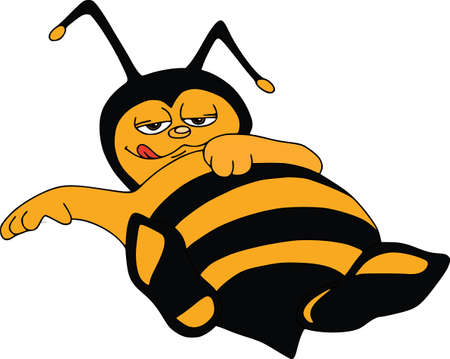 Vector illustration with funny bee. Gluton in rest, lies on the back. Cartoon characters. Çizim