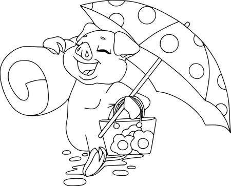 Piglets on summer vacation. Vector illustration on white background. Hicking on the beach with dotted umbrella, contour pattern. Illustration