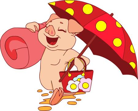 Piglets on summer vacation. Vector illustration on white background. Hicking on the beach with dotted umbrella.