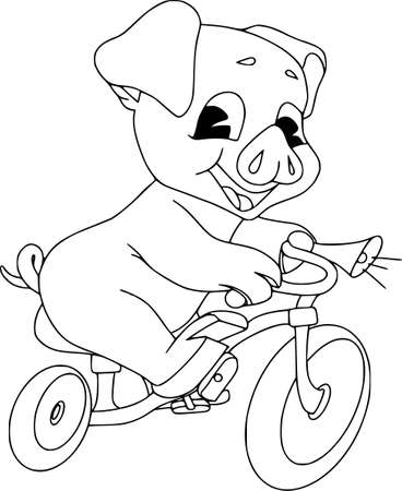 Piglets on summer vacation. Vector illustration on white background. Cheerful cyclist, contour pattern.