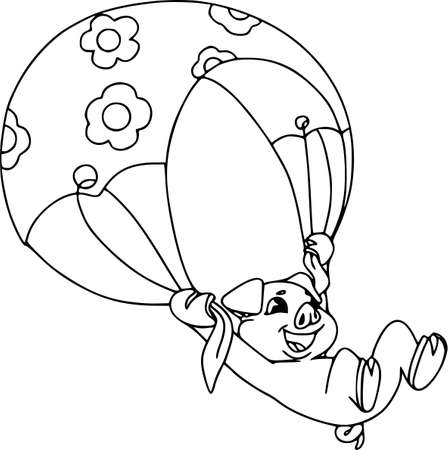 Piglets on summer vacation. Vector illustration on white background. Cute paraglider, contour pattern. Illustration