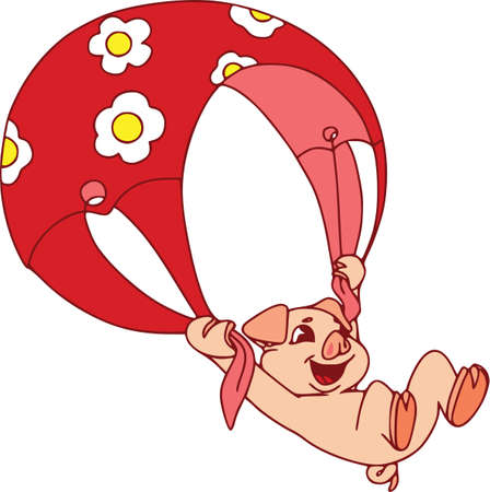 Piglets on summer vacation. Vector illustration on white background. Cute paraglider.