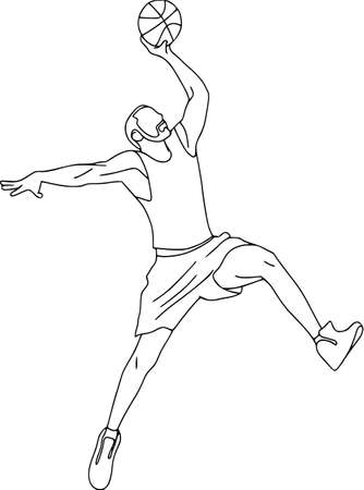 Set of six vector cartoon character of sportsman playing volleyball, basketball, football. Isolated on white background. Flying basketball player, contour pattern