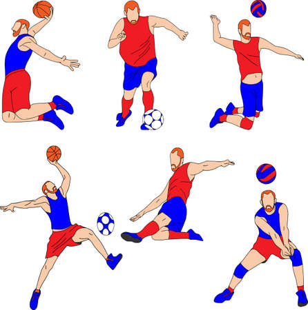 Set of six vector cartoon character of sportsman playing volleyball, basketball, football. Isolated on white background, full set. Çizim