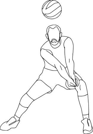 Set of six vector cartoon character of sportsman playing volleyball, basketball, football. Isolated on white background. Volleyball player hits the ball, contour pattern