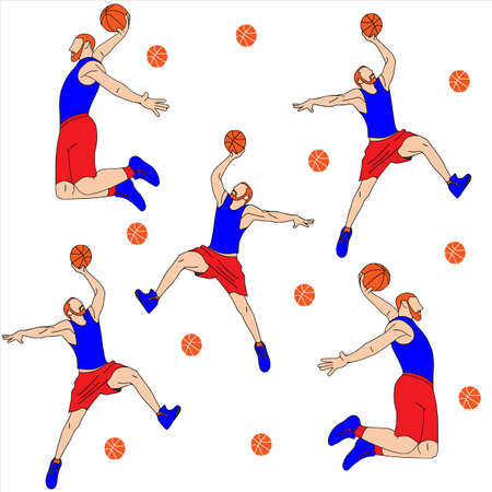 Vector cartoon characters of sportsman playing basketball. Isolated on white background. Player hits the ball, texture, basketball. Vectores