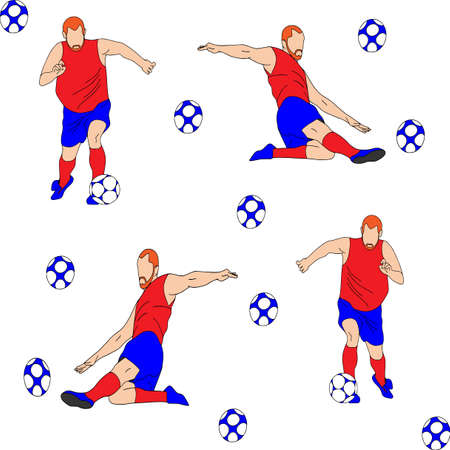 Vector cartoon characters of sportsman playing football. Isolated on white background. Player hits the ball, texture, football
