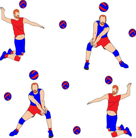 Vector cartoon characters of sportsman playing volleyball. Isolated on white background. Player hits the ball, texture, volley.