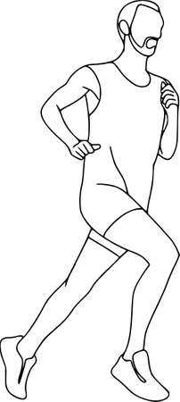 Athlete, runner, physical workout exercise.Sports equipments, vector characters isolated. Contour pattern  イラスト・ベクター素材