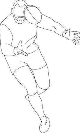 Rugby player with ball. People training, isolated, contour pattern.