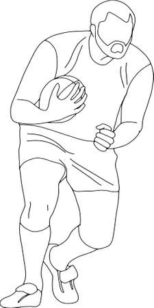 Rugby player, running with the ball. People training, isolated, contour pattern Illustration