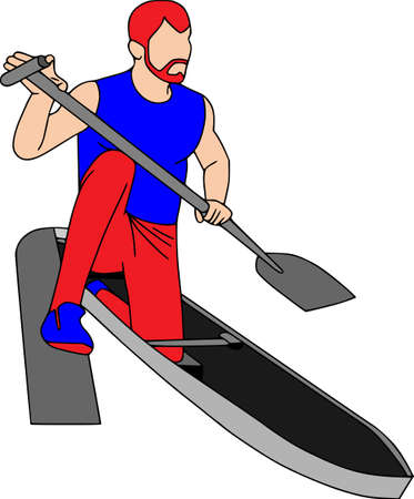 People training, physical workout exercise. Sports equipments, vector characters isolated. Kayaker. Çizim