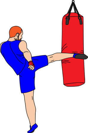 People training, physical workout exercise. Young human coach, sports equipments, vector characters isolated. Kickboxer.