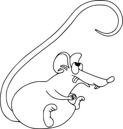 Happy Chinese new year calendar, greeting card. Cute mouse, rat in poses. Animal cartoon cartoon set. Coloring outline, licked looking up  イラスト・ベクター素材