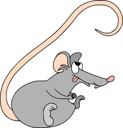 Happy Chinese new year calendar, greeting card. Cute mouse, rat in poses. Animal cartoon cartoon set. Licked looking up  イラスト・ベクター素材