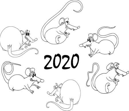 Happy Chinese new year calendar, greeting card. Cute mouse, rat in poses. Animal cartoon set. Coloring outline, six rats sit in a circle
