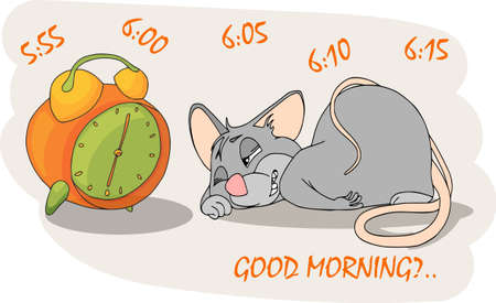 Happy Chinese new year calendar, greeting card, Cute mouse, rat in poses. Animal cartoon set. Sleeping next to the alarm clock.