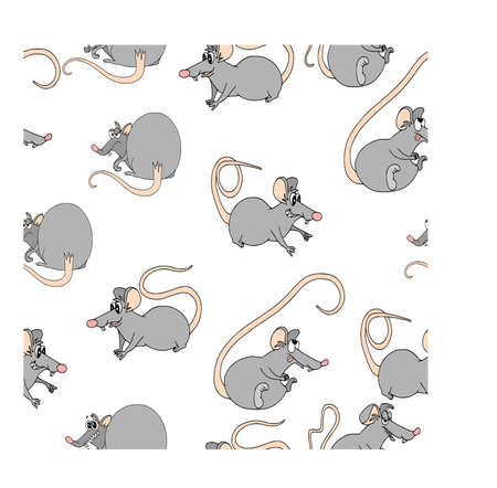 Seamless pattern with funny cartoon characters. White background, colored. Funny rat in poses.