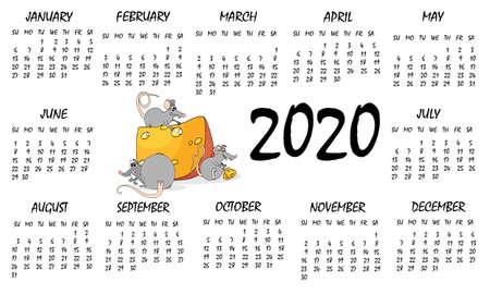 Calendar 2020 with rat chinese new year symbol. Vector template, cartoon characters, white background. Full year page.
