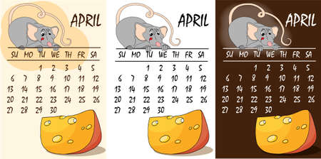 Calendar 2020 with rat chinese new year symbol. Vector template, cartoon characters, white background. April.  イラスト・ベクター素材