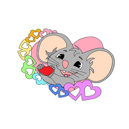 Happy Chinese new year calendar, greeting card, Cute mouse, rat in poses. Animal cartoon set, card with text. Enamored rat giving with hearts around Illustration