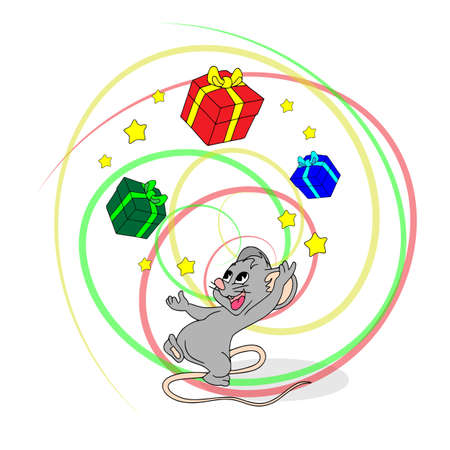 Happy Chinese new year calendar, greeting card, Cute mouse, rat in poses. Animal cartoon set, card. Juggling mouse