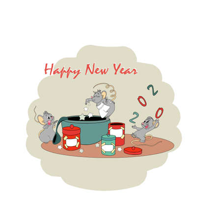 Calendar 2020 with rat chinese new year symbol. Vector template, cartoon characters, white background. Cooking a prescription happiness Çizim