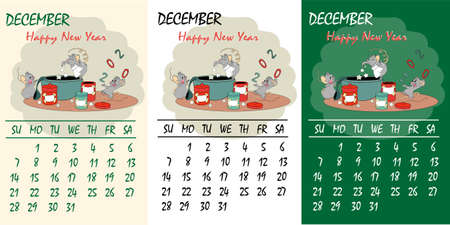 Calendar 2020 with rat chinese new year symbol. Vector template, cartoon characters, white background. December, cooking a prescription happiness