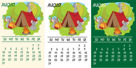 Calendar 2020 with rat chinese new year symbol. Vector template, cartoon characters, white background. August Çizim