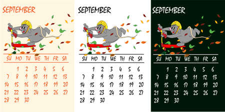 Calendar 2020 with rat chinese new year symbol. Vector template, cartoon characters, white background. September Çizim