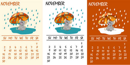 Calendar 2020 with rat chinese new year symbol. Vector template, cartoon characters, white background. November, autumn mood Çizim