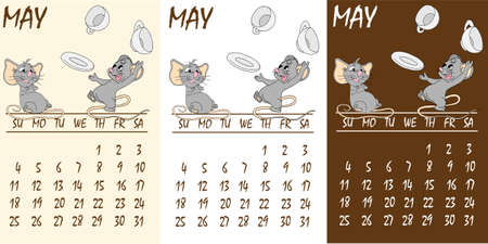 Calendar 2020 with rat chinese new year symbol. Vector template, cartoon characters, white background. May Çizim