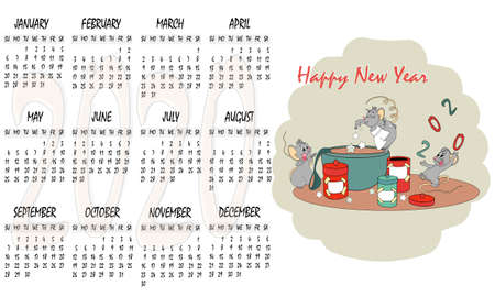 Happy Chinese new year calendar, greeting card, Cute mouse, rat in poses. Animal cartoon set. Cooking a prescription happiness, horizontal pattern