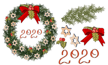 Pretty wreath with christmas decoration. Round garland with season festive elements. For season decorations, advertisement, design. Set with christmas decoration. Ilustracja