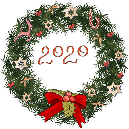 Pretty wreath with christmas decoration. Round garland with season festive elements. For season decorations, advertisement, design. Bow with mistletoe. Ilustracja