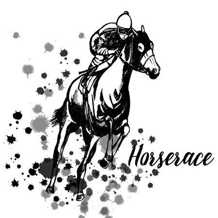 Hand drawn sketch style jockey on a horse in black and white illustration isolated on white background.