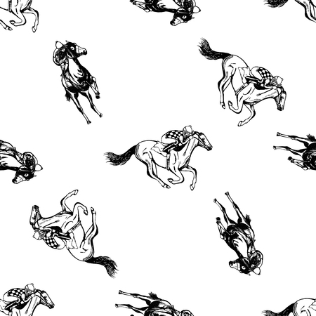 Borderless pattern of hand drawn sketch style jockeys on a horses in black and white illustration isolated on white background.
