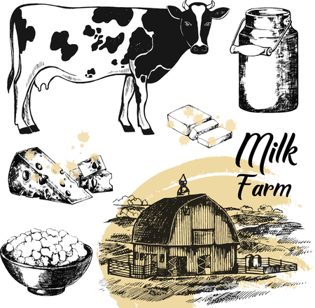 Set of hand drawn sketch style milk farm related objects illustration isolated on white background. Imagens - 91692004