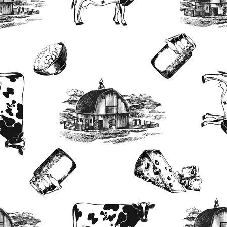 Borderless pattern of hand drawn sketch style milk farm related objects in black and white illustration isolated on white background.