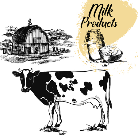 Set of hand drawn sketch style milk farm related objects. Vector illustration isolated on white background.