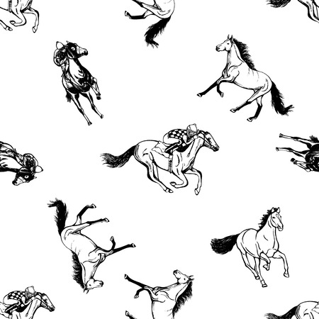 Seamless pattern of hand drawn sketch style horses and jockeys on horses. Vector illustration isolated on white background. Ilustração