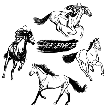 Set Of Hand Drawn Sketch Style Horses And Jockeys On Vector Illustration Isolated