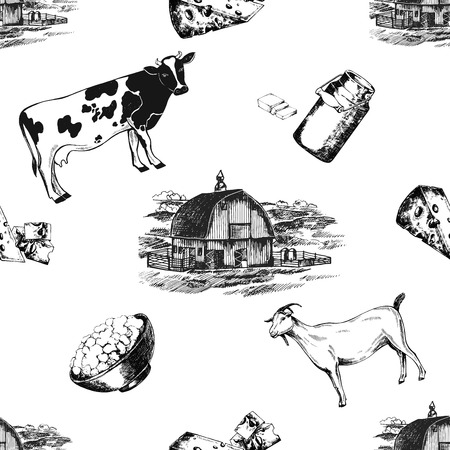 Seamless pattern of hand drawn sketch style milk farm related objects. Vector illustration isolated on white background.