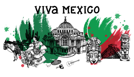 Set of hand drawn sketch style Mexican themed objects. Vector illustration isolated on white background.
