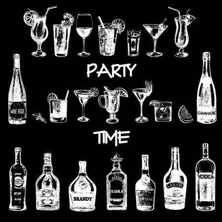 Conjunto de bebidas alcohólicas y botellas estilo boceto dibujado a mano. Ilustración de vector aislado sobre fondo negro.