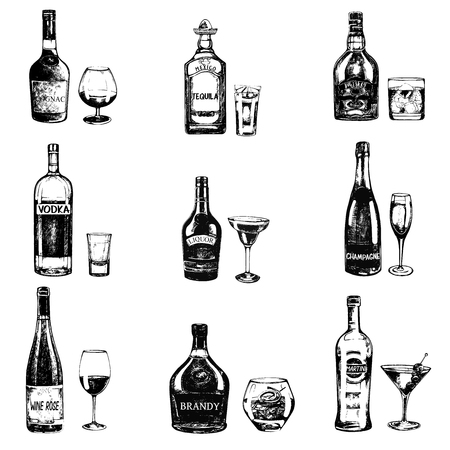 Set of sketch style hand drawn bottles of alcohol and drinks. Vector illustration isolated on white background.