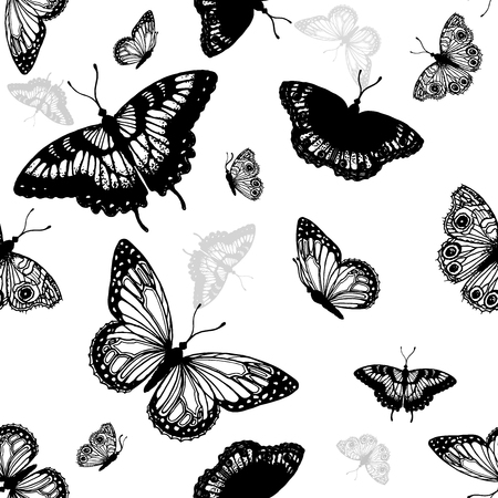 Seamless pattern of hand drawn sketch style butterflies. Vector illustration isolated on white background.